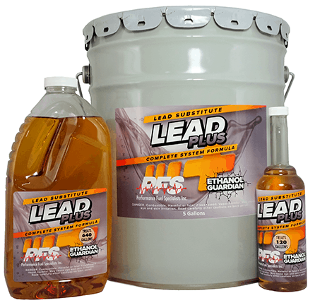 Lead Plus Lead Substitute Fuel Additive, 12 oz., 64 oz., and 5 gallon containers
