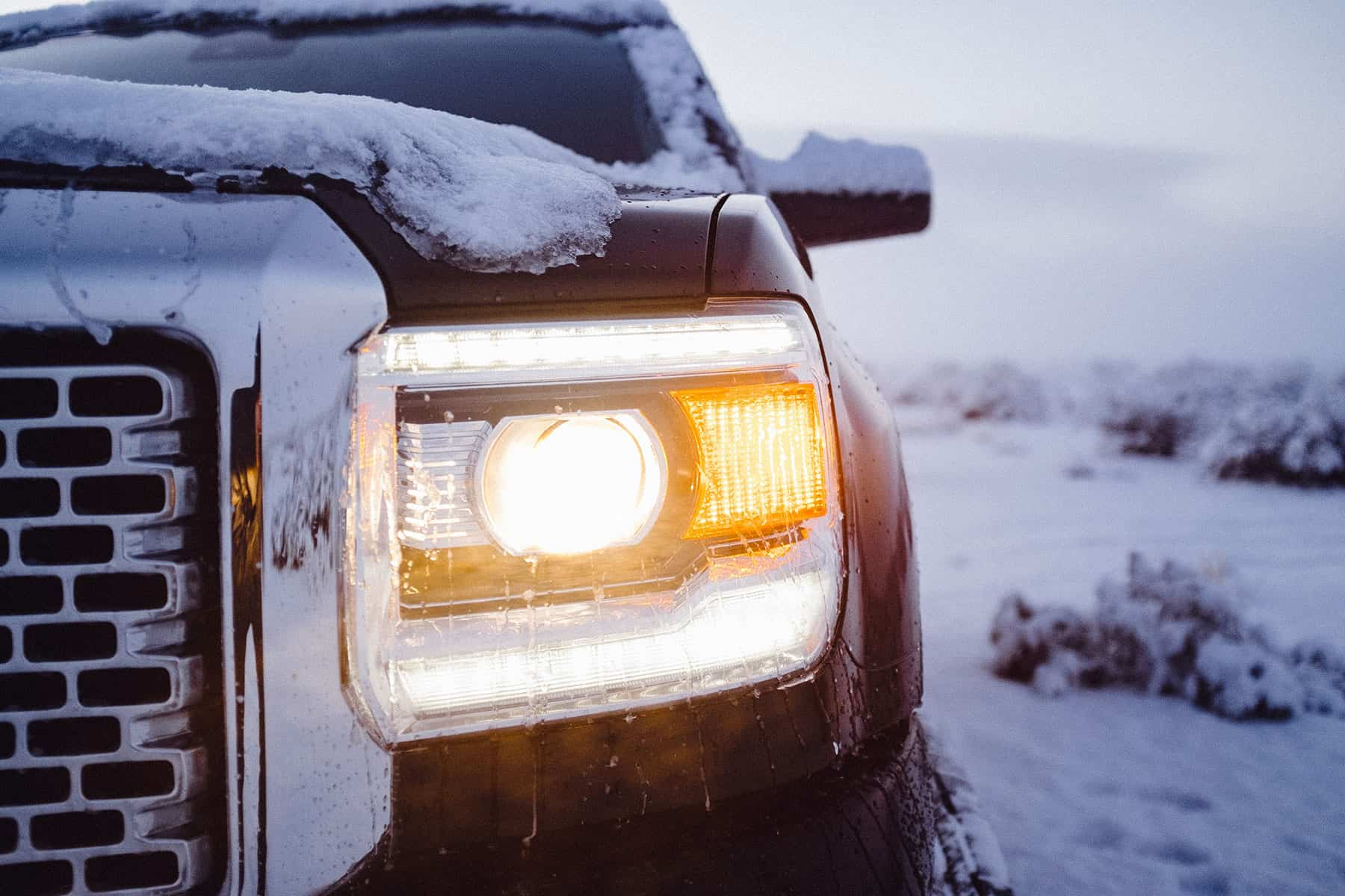 Closeup of truck in winter conditions